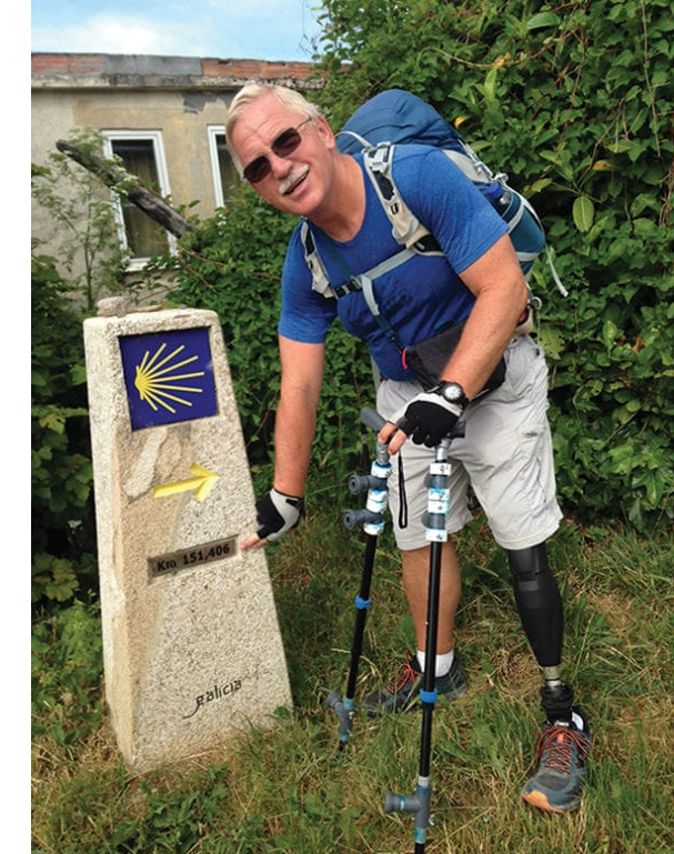 Adam Galicki, an amputee hiking the Camino Frances.