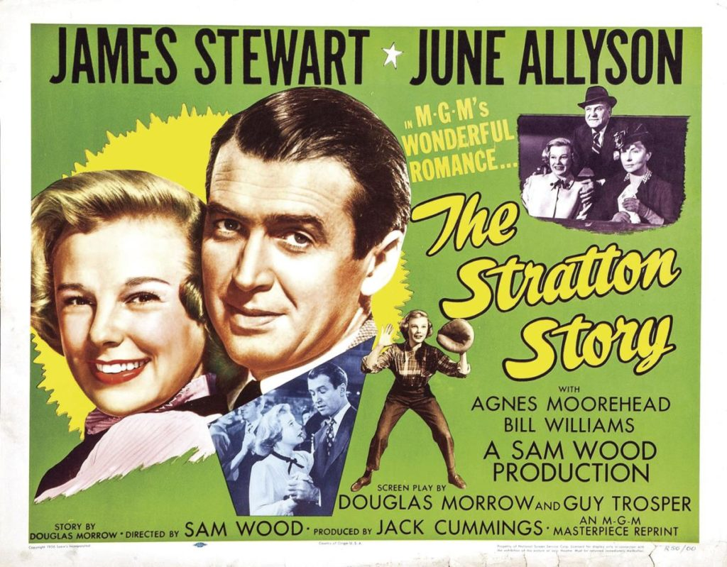Jimmy Stewart and June Allyson in The Stratton Story, about amputee baseball player Monty Stratton.